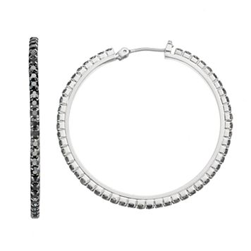 Simply Vera Vera Wang Black Cup Chain Nickel Free Hoop Earrings
