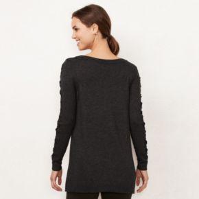 Women's LC Lauren Conrad Lace-Up Crewneck Sweater