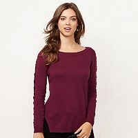 Women's LC Lauren Conrad Lace-Up Crewneck Sweater