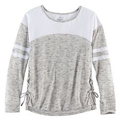 Girls 7-16 & Plus Size SO® Space-Dye Lace-Up Side Tee