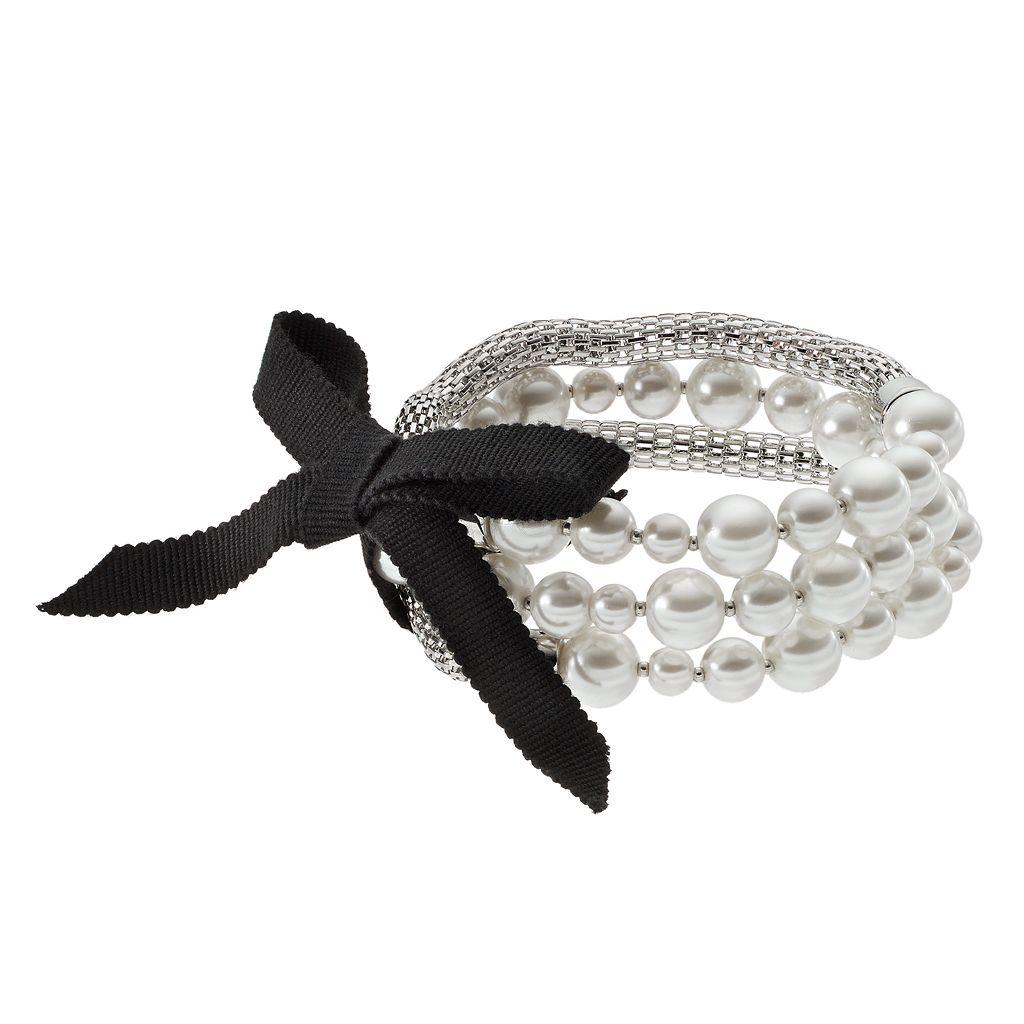Simply Vera Vera Wang Simulated Pearl & Mesh Chain Stretch Bracelet Set