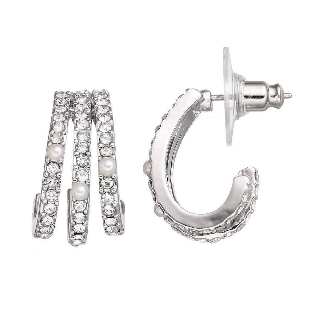 Simply Vera Vera Wang Pave Nickel Free Triple Hoop Earrings