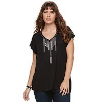 Plus Size Rock & Republic® Embellished Tassel Tee
