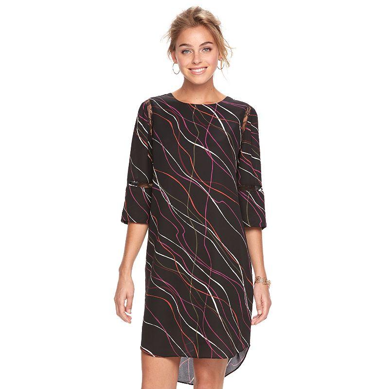c26c1b37af Women s Apt. 9® Print Lace Inset Shift Dress (Black)
