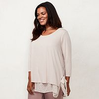 Plus Size LC Lauren Conrad Mock-Layer Tunic