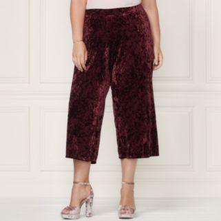 LC Lauren Conrad Runway Collection Wide-Leg Crop Velvet Pants - Plus Size