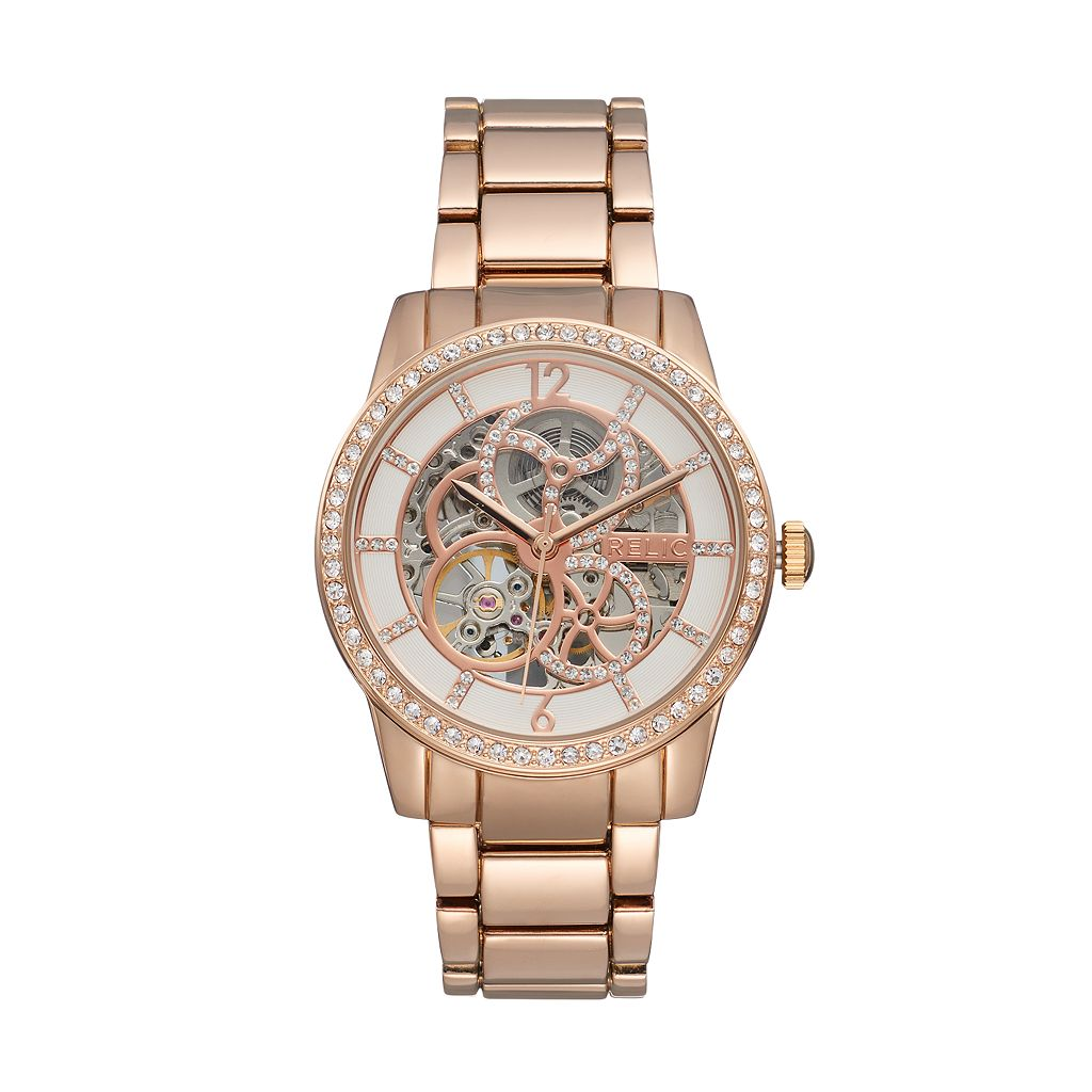 Relic Women's Amelia Crystal Automatic Skeleton Watch