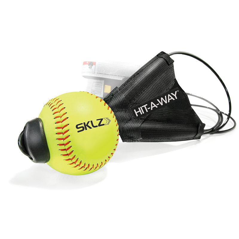 Sklz Hit-A-Way Softball, Multicolor Improve your swing using this Sklz Hit-A-Way Softball. Improve timing, confidence and hand-eye coordination Develop better swing and stance mechanics Get up to 500 swings per hour without ever chasing a ball Tethered ball and cord quickly attaches to any pole or tree Easily adjusts to any height What's Included Tethered softball Imported Model no. SJS02-10TH-04 Size: Onesize. Color: Multicolor. Gender: Unisex.