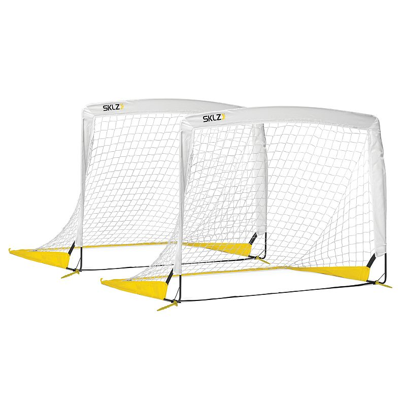 Sklz Goal-EE-Set, Multicolor This Sklz Goal-EE-Set is portable and practical, allowing you to practice or play in the backyard or park with ease. Quick set up for pickup games or practice drills Authentic goal shape, including white nets, for real soccer action Lightweight, portable and easy to carry to the field or park What's Included 2 soccer goals 4'x3' (each) Imported Model no. Goal-SET-002 Size: Onesize. Color: Multicolor. Gender: Unisex.