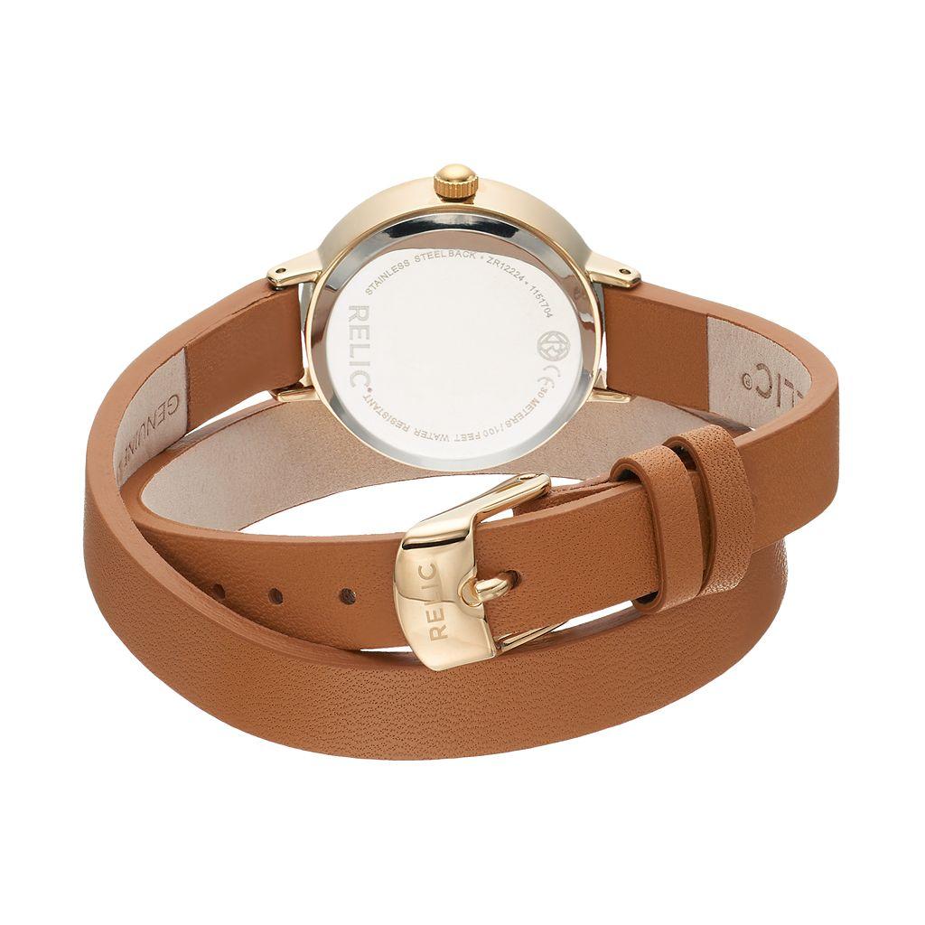 Relic Women's Reece Crystal Leather Wrap Watch