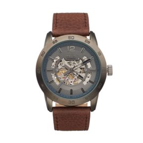 Relic Men's Kyle Leather Automatic Skeleton Watch