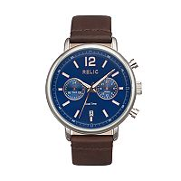 Relic Men's Troy Dual Time Leather Watch