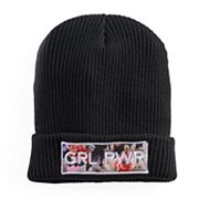 Women's Mudd® Floral 'GRL PWR' Patch Beanie
