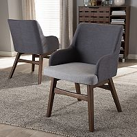Baxton Studio Monte Mid-Century Arm Dining Chair 2-piece Set