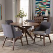 Baxton Studio Monte Mid-Century Round Dining Table & Arm Chair Set