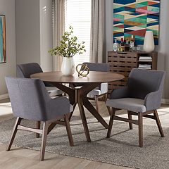 Baxton Studio Monte Mid-Century Round Dining Table & Arm Chair Set