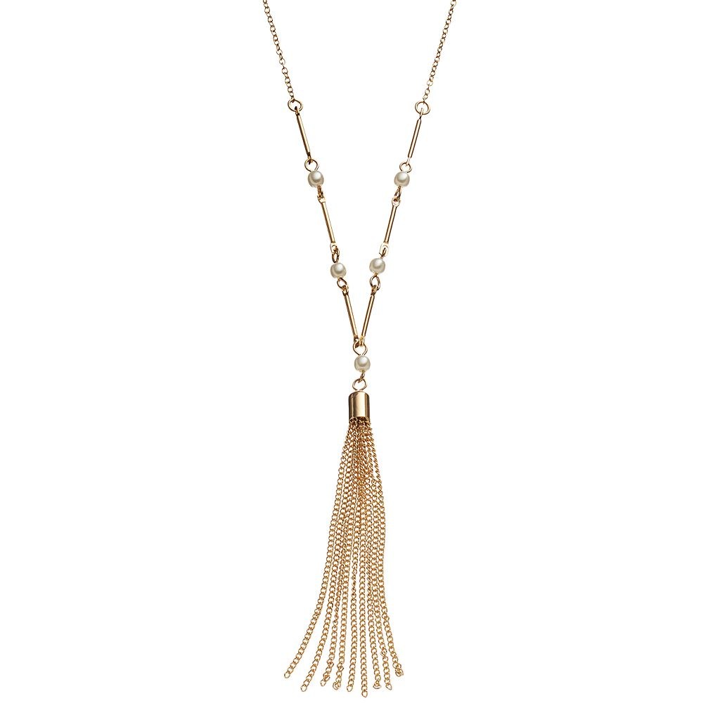 LC Lauren Conrad Long Simulated Pearl Tassel Y Necklace