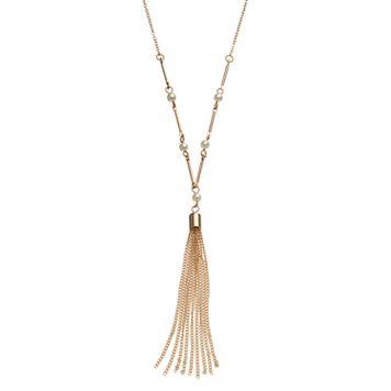 LC Lauren Conrad Long Simulated Pearl Tassel Y Necklace
