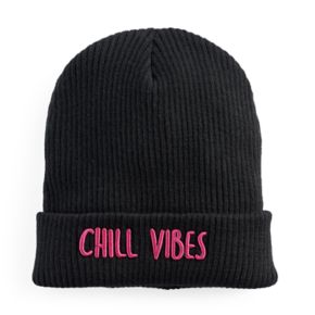 """Women's Mudd® Embroidered """"Chill Vibes"""" Beanie"""