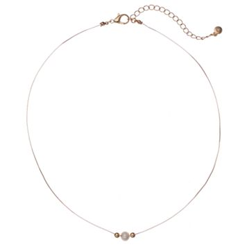 LC Lauren Conrad Gold Tone Bead Simulated Pearl Necklace