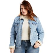 Plus Size Levi's Sherpa-Lined Denim Trucker Jacket