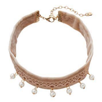 LC Lauren Conrad Crochet Velvet Choker Necklace