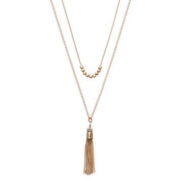 LC Lauren Conrad Layered Tassel Pendant Necklace