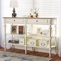 Baxton Studio Marquetterie French Country 2-Shelf Console Table