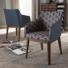 Baxton Studio Reece Mid-Century Geometric Accent Chair