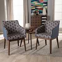 Baxton Studio Reece Mid-Century Accent Chair & End Table 3 pc Set