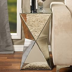 Baxton Studio Rebecca Mirrored Geometric End Table