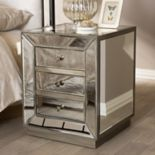 Baxton Studio 3-Drawer Mirrored Nightstand