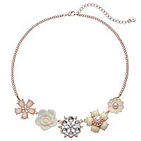 LC Lauren Conrad Flower Collage Statement Necklace