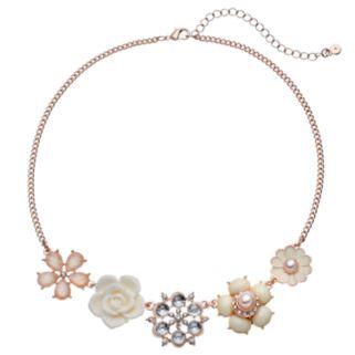 LC Lauren Conrad Flower Collage Statement Necklace