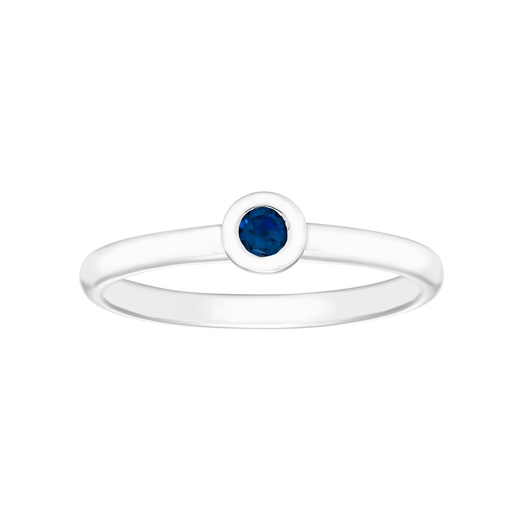 14k White Gold Birthstone Stack Ring