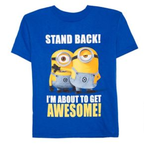 """Toddler Boy Despicable Me Minions """"Stand Back I'm About To Be Awesome"""" Graphic Tee"""