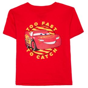 "Toddler Boy Disney / Pixar Cars Lightning McQueen ""Too Fast To Catch"" Graphic Tee"