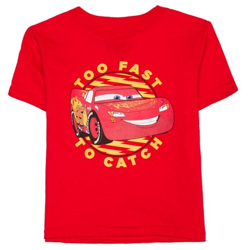 """Toddler Boy Disney / Pixar Cars Lightning McQueen """"Too Fast To Catch"""" Graphic Tee"""