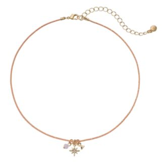 LC Lauren Conrad Triangle & Star Charm Pink Choker Necklace