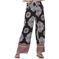 Juniors' About A Girl Smocked Print Palazzo Pants
