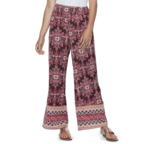 Juniors' About A Girl Print Smocked Palazzo Pants