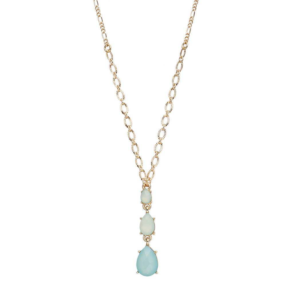 LC Lauren Conrad Graduated Green Teardrop Y Necklace