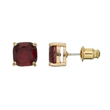 LC Lauren Conrad Red Square Stud Earrings
