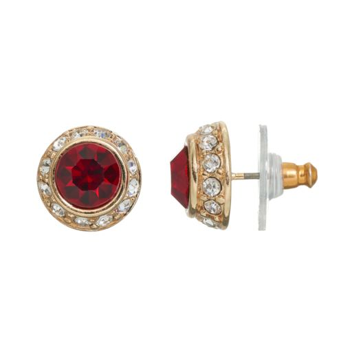 LC Lauren Conrad Red Dome Halo Stud Earrings