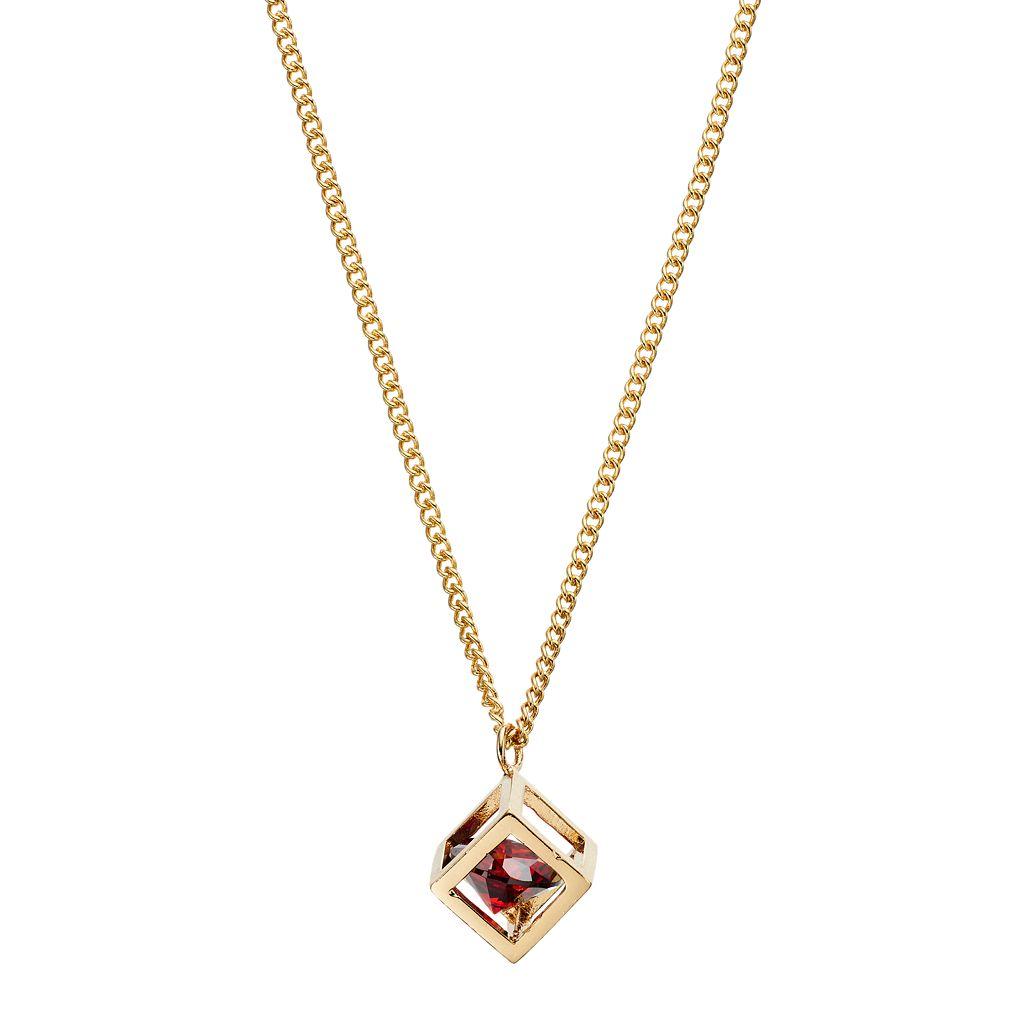 LC Lauren Conrad Red Cubic Zirconia Long Open Cube Pendant Necklace