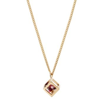 LC Lauren Conrad Red Cubic Zirconia Long Open Cube Pendant Necklace