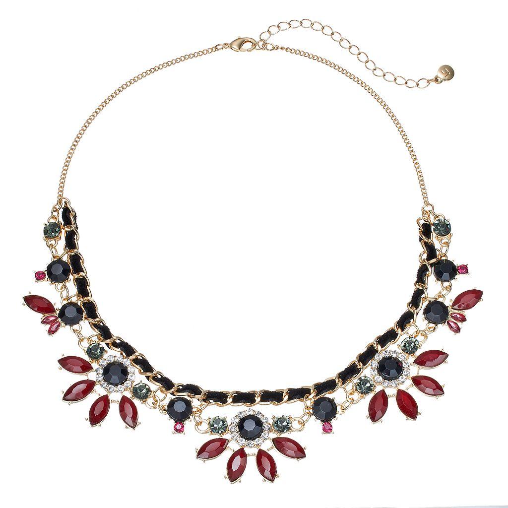 LC Lauren Conrad Flower Cord Statement Necklace
