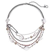 Simply Vera Vera Wang Safety Pin Pink Beaded Swag Necklace