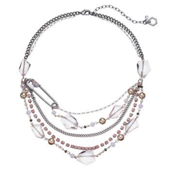 Simply Vera Vera Wang Safety Pin Pink Beaded Swag Necklace