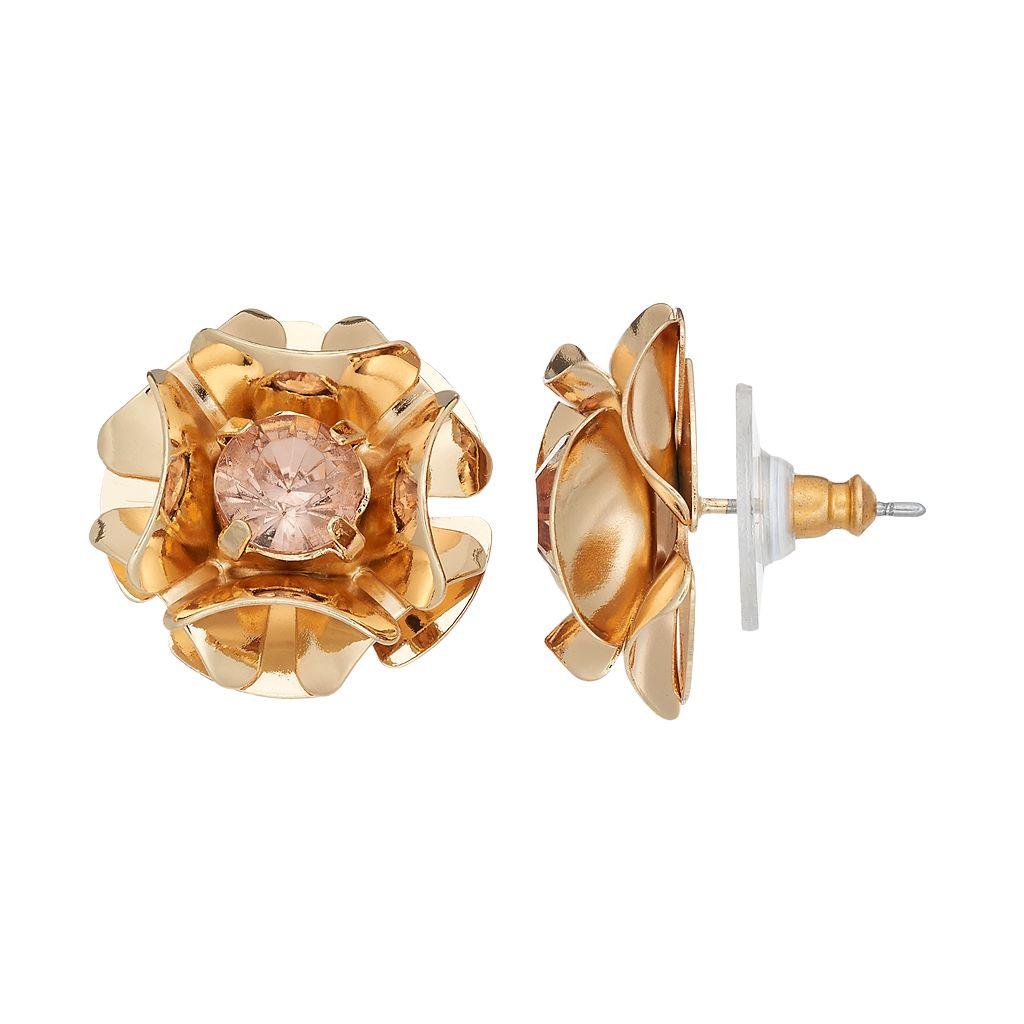 Simply Vera Vera Wang Nickel Free Pink Stone Flower Stud Earrings